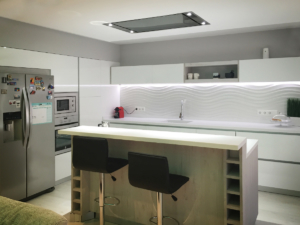 Renovated kitchen. Two-level island.